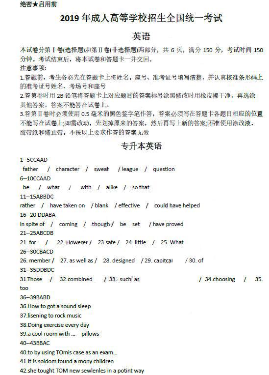 2019年河南成人高考专升本英语真题及答案